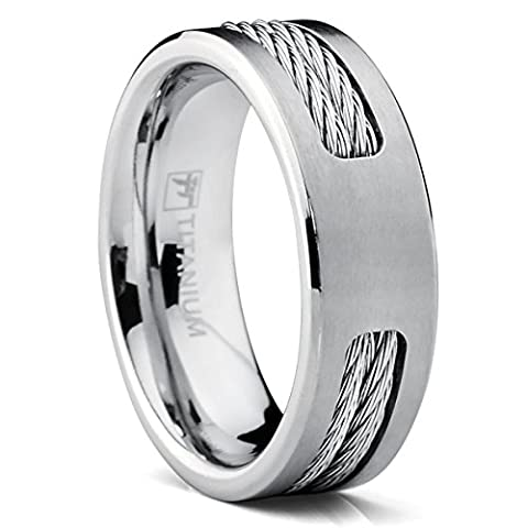 7 MM Titanium ring Wedding band with Stainless steel Cable Inlay size W 1/2