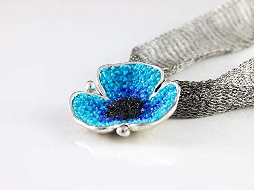 Damen Silber-Anhänger Mohn-Blüte Türkis 925 Sterling-Silber Halskette Natur-Schmuck (Mohn Sterling Silber)