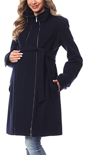 Be Mammy Damen Umstandsmantel Wolle Wintermantel BE20-225 (Marineblau, 36)