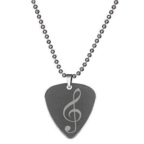 PUNK Halskette, Anhänger Plektron, aus Edelstahl für E-Bass, -Gitarre, kreatives Design Music note