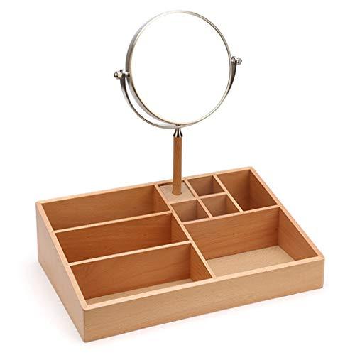 Boîte De Rangement Pour Cosmétiques En Bois Table À Langer Simple Support De Soins De La Peau En Bois + Miroir De Maquillage