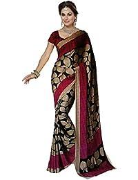 Ishin Bhagalpuri Silk Black & Pink Printed Party Wear Wedding Wear Casual Wear Festive Wear Bollywood New Collection...