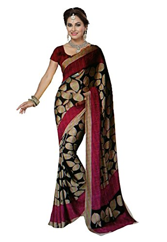 Ishin Bhagalpuri Silk Black & Pink Printed Party Wear Wedding Wear Casual Wear Festive Wear Bollywood New Collection Latest Design Trendy Women's Saree/Sari  available at amazon for Rs.299