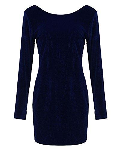 ZANZEA Femmes Sexy Bodycon Dos Nu Mini Robe de Soirée Partie Cocktail Short Velvet Dress Bleu foncé