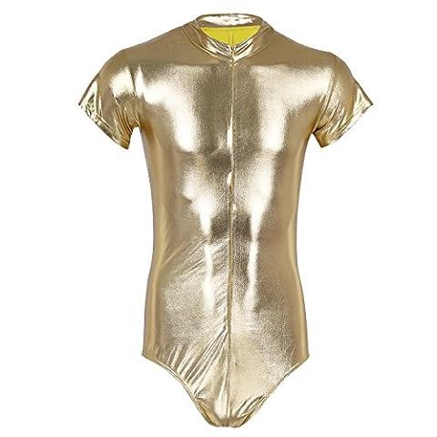 iEFiEL Herren Body Unterwäsche Slip wetlook Kleidung erotik Wäsche Dessous einteiler Herren Bodysuit Unterhemd Clubwear Gold