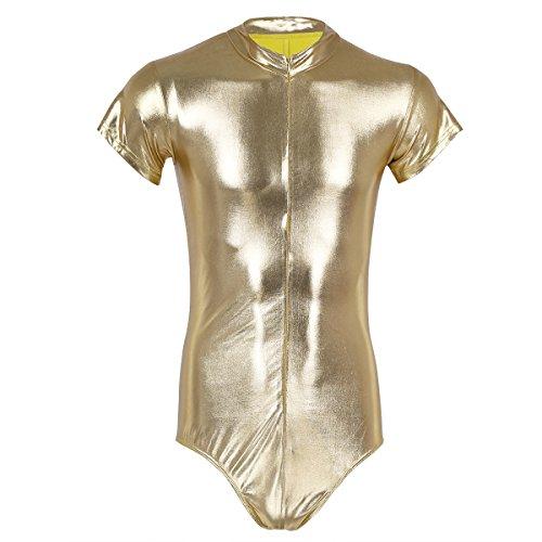 iEFiEL Herren Body Unterwäsche Slip Wetlook Kleidung Erotik Wäsche Dessous Einteiler Herren Bodysuit Unterhemd Clubwear Gold XL