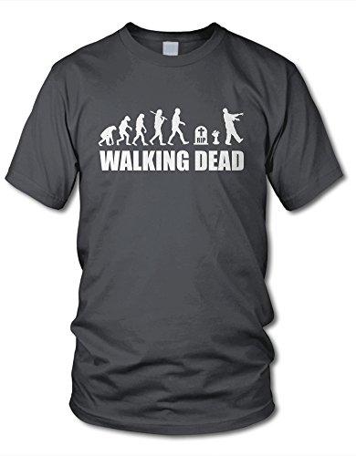 shirtloge - EVOLUTION WALKING DEAD - KULT - Fun T-Shirt - in verschiedenen Farben & Größe Dunkelgrau