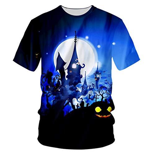 Halloween Kreative O Neck 3D Katze und Schloss gedruckt Hip Hop Herren Tier T-Shirt Cat and Castle 6XL
