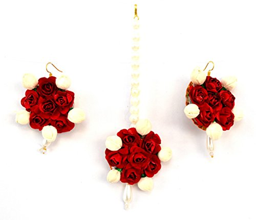 Floret Jewellery Red Flower Jewellery Earrings & Maang Tika For Women & Girls (Mehandi/Haldi/Bride)