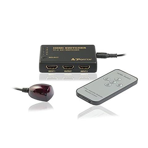 Portta HDMI Switch Switcher Commutateur 5 Port 5 x Entrées à 1 x Sortie v1.4 avec la Télécommande IR et Adapteur Supporte Full HD 1080p et 3D pour HDTV PS3 PS4 Xbox Blu-ray DVD STB PC etc