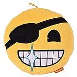 Innova Kissen mit Standort Foto Emoji Haarband auf Auge, Wildlederimitat, gelb/schwarz/weiß, 30x 30x 6cm