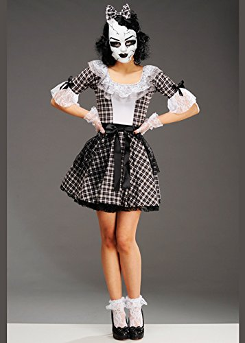 Halloween Doll Kostüme Broken (Erwachsene Damen Gothic Black Broken Doll Kostüm Small (UK)