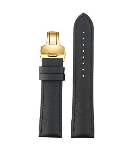 Premium-Schwarze Armbanduhr Bänder Leder echten Kalbsleder Silikon-Futter mit Gold Faltschließe 19mm - Invicta Bands Watch Silikon