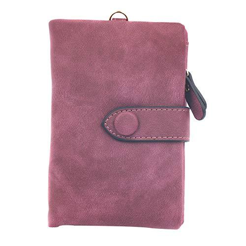 Weiche Damen Geldbörse (Tutyuity Damen Leder Geldbörse, Dreifach Gefaltete Geldbörse, Frauen Kurze Entwurfs-Art und Weise PU-Leder-Kartenhalter, violett)