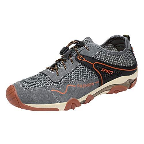 Atmungsaktive Herren Mesh Outdoor Sneakers Schuhe Herren Slipper Mode Flach Low-Top-Schuhe Turnschuhe rutschfest Bequeme Strandschuhe ()