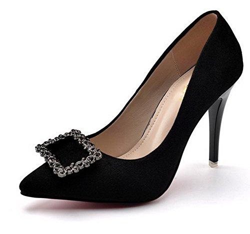 AalarDom Femme Couleur Unie à Talon Haut Pointu Tire Chaussures Légeresavec Bijou Noir-Boucle