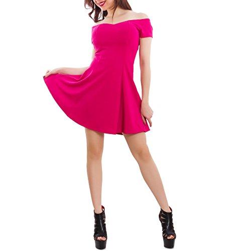 Toocool - Vestito donna miniabito svasato spalle nude gitana elegante sexy nuovo GI-2544 Fuxia