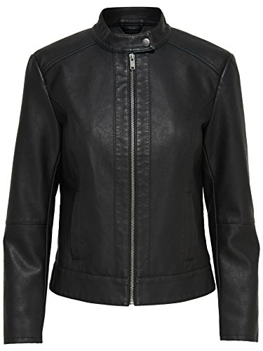JDY Damen Jacke JDYDALLAS Faux Leather Jacket OTW NOOS, Schwarz (Black), 38