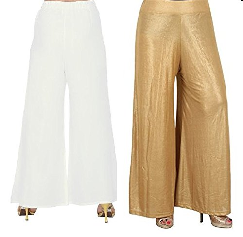 preet gehna Cotton Palazzo:Combo Pack of Two White and Golden Colour devider...