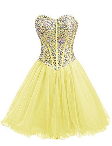 Dresstells Damen Kurz Tüll Cocktail-Kleider Mit Schnürung Herzform Party Kleider Gelb