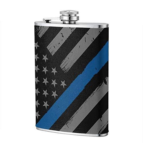 Polizei dünne blaue Linie amerikanische Flagge Flasche Edelstahl 8 Unzen Flasche Whisky Flasche Wodka Flasche tragbare Tasche Flasche, Tasche Flasche, Camping Weinflasche