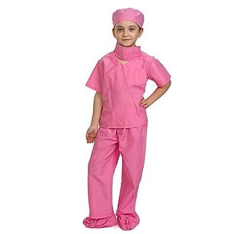 Dress Up America 874P - Kinder Doktor Scrubs Fancy Kostüm, Medium/8-10 Jahre, rosa (10. Doktor-kostüm-hemd)