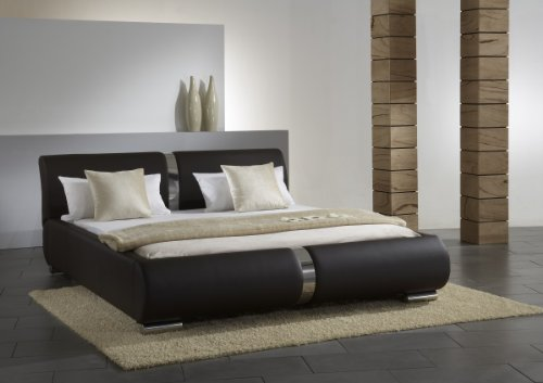 Dreams4Home Polsterbett mit Kunstlederbezug 'Milo' 160, 180 o. 200×200 cm, Braun, Liegefläche:200×200 cm
