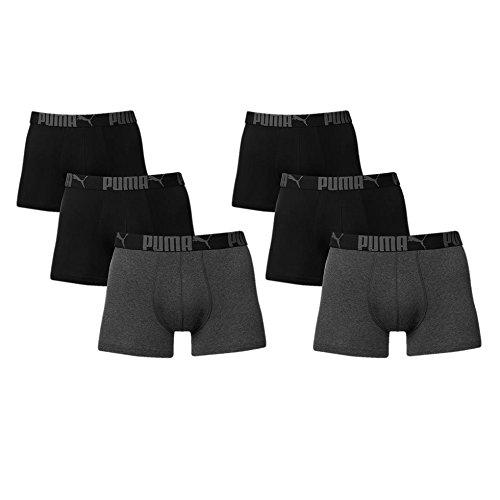 6 er Pack Puma Boxer Boxershorts Men Pant Unterwäsche Catbrand PROMO, Farbe:223 - Black/Anthracite;Bekleidungsgröße:M