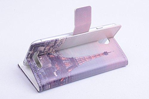 Baiwei Pu Leder Kunstleder Flip Cover Tasche Handyhülle Case Mit Halterung und Karte Slot für Kazam Tornado 348 (Mode 2)