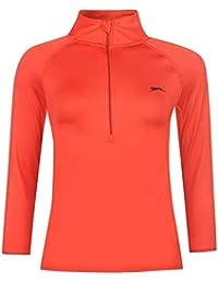 Slazenger Damen Baseline Tennis Shirt Atmungsaktiv Langarm Stehkragen 1/2 Zip