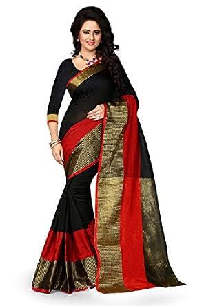 Shree Sanskruti Women's Poly Cotton Saree With Blouse Piece (Raj Haka Black_Black & Red)