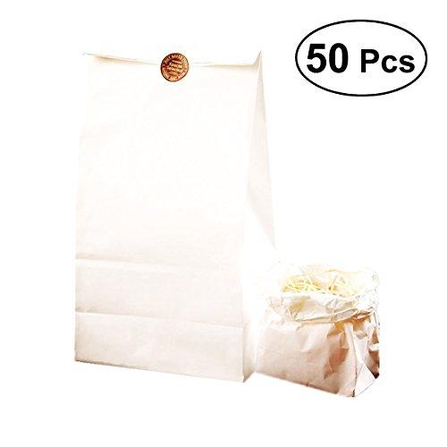 BESTONZON 50 Pcs Einzelnutzung Kraft Papiertüte für Bräter Lebensmittel Nüsse Grill Beutel Verpackungsbeutel (weiß)