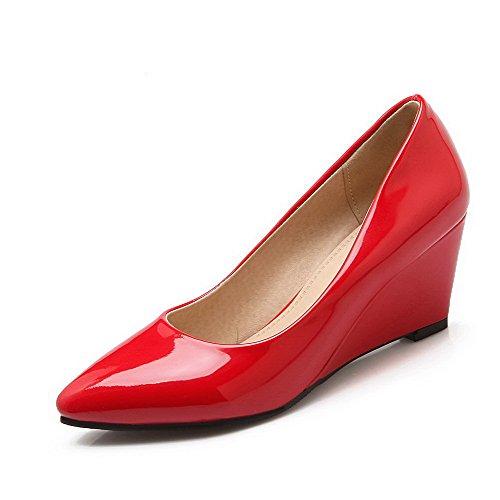 Damen Lackleder Spitz Zehe Mittler Ziehen auf Rein Pumps Schuhe, Knallblau, 37 VogueZone009