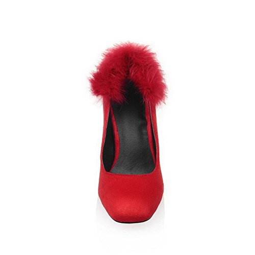 AgooLar Femme Dépolissement Carré à Talon Haut Tire Couleur Unie Chaussures Légeres Rouge