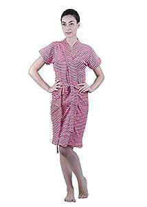 Superior Terry Cloth FeelBlue Printed Bathrobe (Red, Free Size)