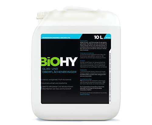 BIOHY Glas- und Oberflächenreiniger 10 Liter Kanister Glasreiniger Konzentrat, Universalreiniger Intensiv & Nachhaltig reinigendes, Automatenreiniger, Profi Bio-Reiniger, Öko Reinigungsmittel