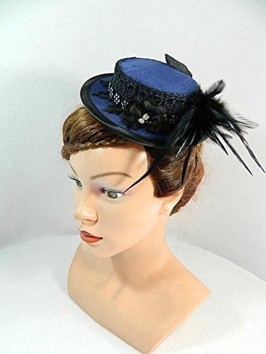 Mini Sommerhut blau Damenhut Fascinator Hütchen Haarschmuck