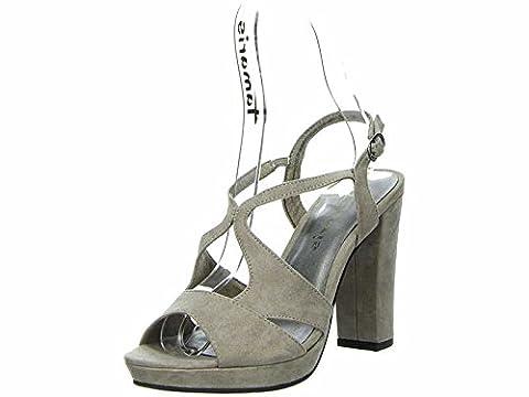 Tamaris Schuhe 1-1-28386-38 bequeme Damen Sandalette, Sandalen, Sommerschuhe für modebewusste Frau, braun (PEPPER), EU
