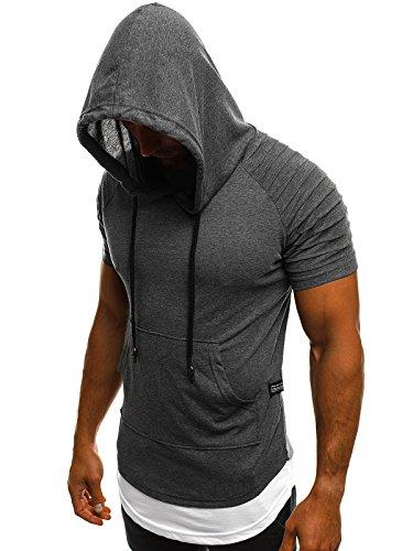 OZONEE Mix Herren Tanktop Shirt Tankshirt T-Shirt Kapuze Unterhemden Ärmellos Muskelshirt Fitness A/1186 Dunkelgrau S