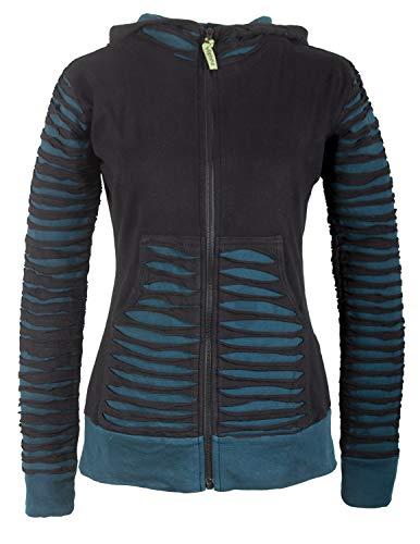 Vishes - Alternative Bekleidung - Damen Patchworkjacke Kapuzenjacke Hoodie Baumwolle Cutwork Streifen schwarz-türkis 38