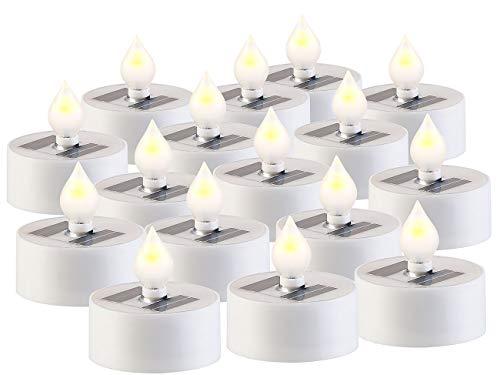 Lunartec LED-Akku-Teelicht: 16er-Set Solar-LED-Teelichter mit Dämmerungs-Sensor, IP44, weiß (LED Teelicht wasserdicht)