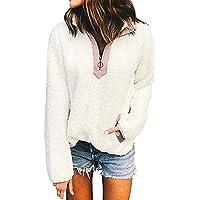 Hanomes Damen pullover, Damen Stehkragen Zip Up Fluffy Top Sweatshirt Damen Kapuzen Pullover Pullover preisvergleich bei billige-tabletten.eu