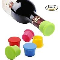 Vicloon Set de 5 Tapones para Botellas, Tapones de Vino Silicona, Tapa de Botella de Vino