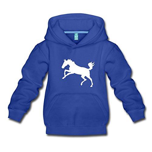 Reiter-kinder Hoodie (Spreadshirt Springendes Pferd Umriss Pony Kinder Premium Hoodie, 134/146 (9-11 Jahre), Royalblau)