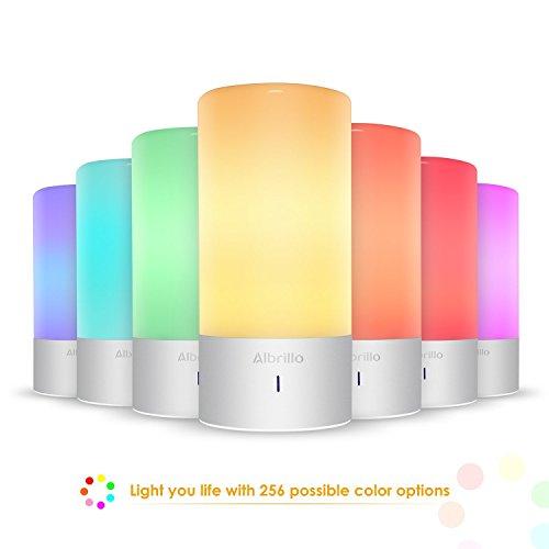 Albrillo Nachttischlampe mit 360° Touch Sensor Dimmbar Warmweißes Licht Smart Stimmungslicht mit 256 Farbkombinationen als Dekolampe für Kinderzimmer