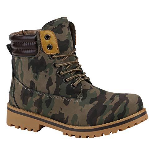 stiefelparadies Warm Gefütterte Damen Outdoor Stiefeletten Worker Boots Camouflage 40 Flandell