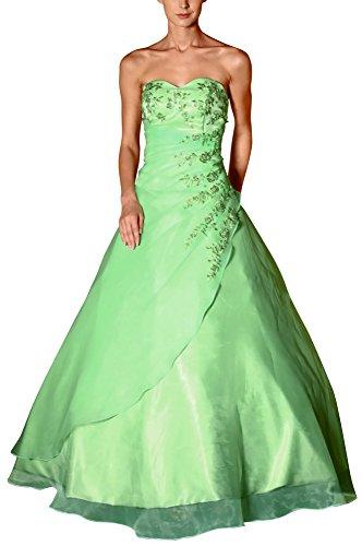 Romantic-Fashion Damen Ballkleid Abendkleid Brautkleid Lang Modell E482 A-Linie Satin Stickerei...