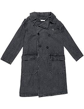 ZKOO Donna Jeans Jacket Lungo Giacca Sciolto Casuale Denim Grigio Giacca Vento Soprabito