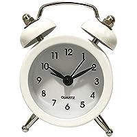 Homyl Clásico Despertador Silencioso de Barrido de Escritorio de Tabla, Ideal para Dormitorio Hogar Oficina - Blanco, Redondo