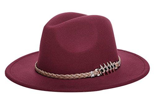 Evedaily Casquette Femme Chapeau de Jazz Trilby pour Printemps Automne Hiver Rouge